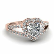 2ct Heart Cut VVS1/D Diamond Engagement Solitaire Ring Love Gift 14k Rose Gold