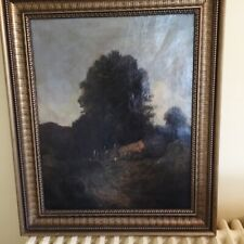 antique 19th c oil painting by Josef Magnus Stack woman with cart landscape