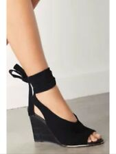 New❤️Next❤️Size 6.5 Black Suede Leather Wedge Shoes Sandal Tie Lace Up Strap 40