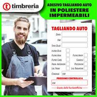 50 adesivi Tagliando Auto Cambio Olio Etichetta, Adesivo POLIESTERE IMPERMEABILE