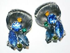 Rhinestone Floral Earrings Ear Bobs Vintage Silver Tone Clip On