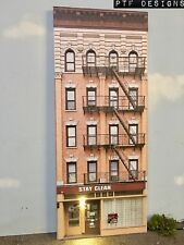 """*O Scale Scratch Built """"APARTMENT #5"""" LED Building Front Flat MTH Lionel NEW!"""