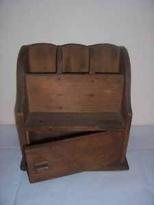 vintage pine Desk Organizer Pen Holder Box Desktop storage 1930/40s 99p no res