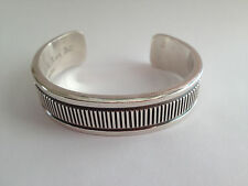 Ken and Mary (K & M) Bill Signed Sterling Silver Navajo Cuff Bracelet 99g #4