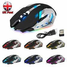 LED LASER USB WIRELESS OPTICAL GAME 2.4GHz SILENT GAMING MOUSE RECHARGABLE X7 UK