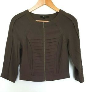 CUE Ladies Designer Army Green 3/4 Sleeve Cropped Front Zip Top size 8