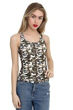 Ladies  army Racer back Camouflage Vest Top Dance Party Tops Costume Fancy Dress