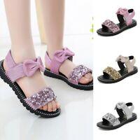 Summer Children Kids Girls Cute Bowknot Bling Sequins Princess Shoes Sandals