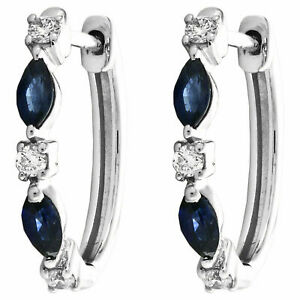 1.40 CT Marquise Cut Blue Sapphire & Diamond Hoop Earrings 14K White Gold Finish