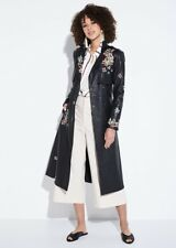 CELEBS $600+ BCBG Alix Faux-Leather FLORAL Embroidered Trench COAT CLASSY SEXY M