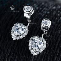 18k white gold gf made with SWAROVSKI crystal dual hearts earrings ear jacket