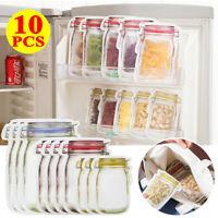 10Pcs Mason Jar Zipper Bags Food Storage Snack Sandwich Ziplock Reusable Seal ME