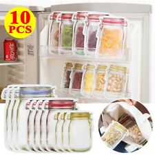10Pcs Mason Jar Zipper Bags Food Storage Snack Sandwich Ziplock Reusable Clear