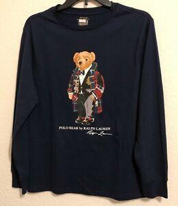 NWT Polo Ralph Lauren Little Boys Moto Bear Jersey Tee Shirt L/S Navy Blue Sz 5