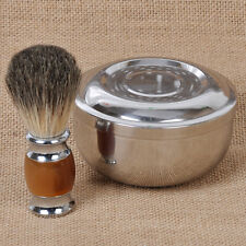 Resin Badger Wet Shaving Brush + Steel Metal Mug Bowl Set Barber Men Tool Gift