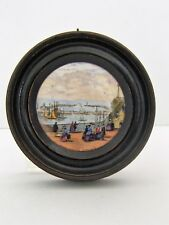 Antique Framed Prattware Pot Lid Royal Harbour Ramsgate c 1845-1875