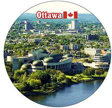 OTTAWA, CANADA - FLAG / SIGHTS - ROUND SOUVENIR FRIDGE MAGNET - NEW - GIFTS