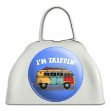 I'm Trippin' Retro Van Funny Humor White Metal Cowbell Cow Bell Instrument