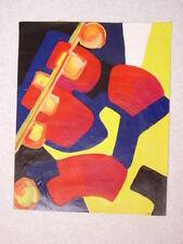 Tableau  ABSTRACTION CUBISTE Acrylique sur papier 40 cm x 50cm