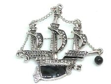 Ship brooch pin fashion jewelry silver tone  ocean beach pirate fun gift #5