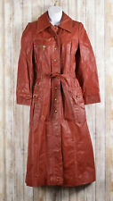 Vintage Burgundy Leather Trench Coat Women Belt Button Zip Out Lining Size 9/10