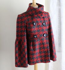Etcetera -Sz 2 Gray-Red Rich Funky Woven Houndstooth Tweed Princess Coat Jacket