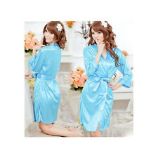 Woman's Satin Lace Robe & G - String / Size S - Baby Blue
