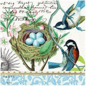 Michel Design BIRD NEST Luncheon Triple-Ply Paper Napkins 20 Ct. Decoupage