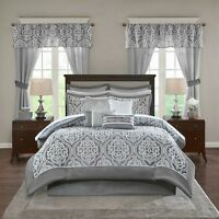 Deluxe Grey Motif Faux Silk Comforter Window Curtains 24 pcs Set Cal King Queen