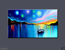 Large Modern Abstract Art Oil Painting On canvas Wall Deco Boat (No Frame)