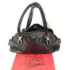 CANPEL Green Snakeskin Effect Leather Studded Zipped Shoulder Handbag 082070