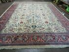 10' X 14' Vintage Hand Knotted Made Indian Agra Wool Rug Vegetable Dyes  IVORY