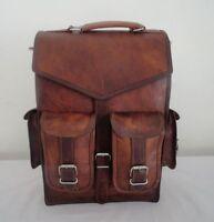 """15"""" Vintage Style Leather Padded Laptop Backpack Rucksack Shoulder Travel Bag"""