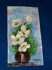 ancien PLAQUE tableau BOUQUET de FLEURS en métal L.CHAPUY art floral