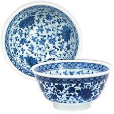 "Japanese Rice Soup Bowl 6""D Porcelain Blue White Ajisai Floral Made in Japan"