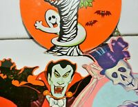 Halloween Vintage Decoration Lot 3 Paper Vampire Skeleton Ghost with Owl Kirk