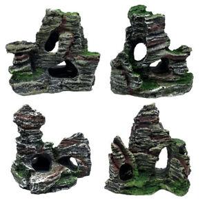 1Pc Resin Simulation Aquarium Mountain Stone Artificial Tree Bridge Rockery
