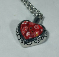 "Heart Pendant Floral Pattern Chain Cremation Urn for Ashes 20"" Chain"