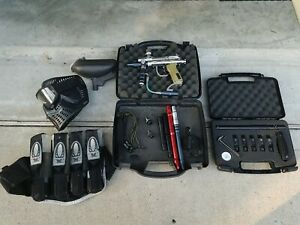 Spyder Fenix Paintball Gun Lot w Barrels Hopper Mask Belt Refill Tubes A-5 Tips!