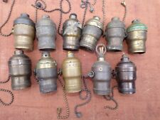 Lot Of Antique Electric Lamp Brass Pull Chain Light Sockets for Parts or Restore