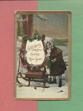 Adorable GIRL, WOOD SLED On Wonderful Vintage NEW YEAR Postcard