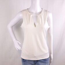 NWT Express Womens XS Ivory Sleeveless Blouse Keyhole Deep V Neck Tank Top