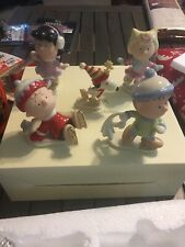 Lenox Peanuts Ice Skating Party -set of 5 figurines-New In Box With Coa
