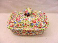 Emily chintz design butterdish by Heron Cross Pottery