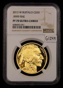 2013-W G$50 1 oz 9999 American Buffalo Gold Coin - NGC PF 70 Ultra Cameo - G1249