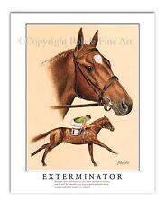 "EXTERMINATOR horse racing ART racehorse Kentucky Derby painting ""Old Bones"""