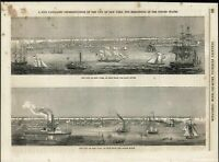 New York from East & North River Manhattan Skyline 1853 antique engraved print