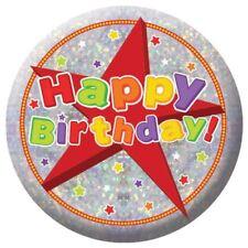 Holographic Happy Birthday Badges Celebration Party Accessory 5.5cm