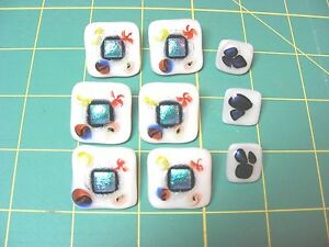 BUTTONS - Glass - Hand Painted - set of 6 large and 3 medium - unique and rare
