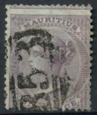 Mauritius QV 1863-72 SG#63, 6d Dull Violet Wmk CC Perf Shift Error Used#D10465